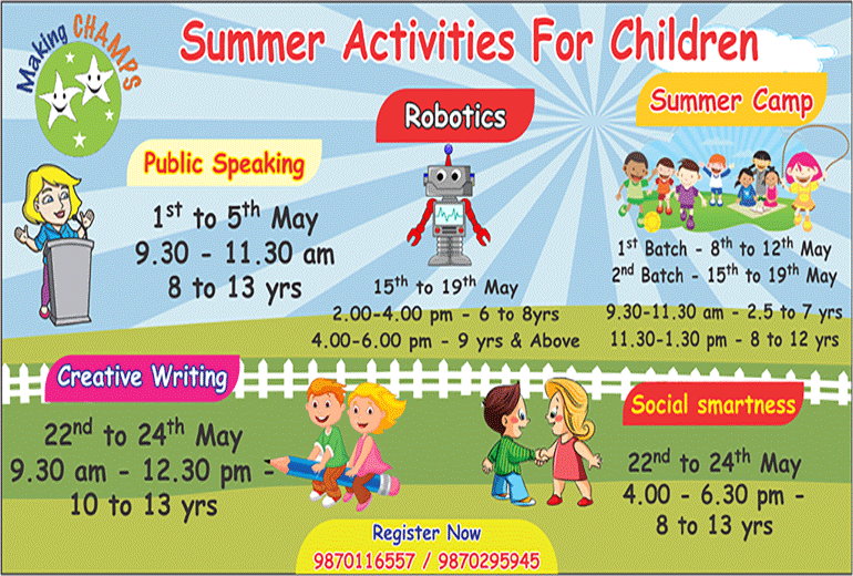 Summer Camp for children in Navi Mumbai (Vashi, Koperkhairane, Ghansoli)